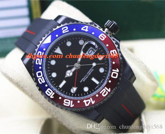 Mode Luxus 2017 116719 PVD Beschichtung Rot Blau Keramik Lünette Gummi Armband 40 MM Automatische Bewegung Männer Uhren Neue Ankunft