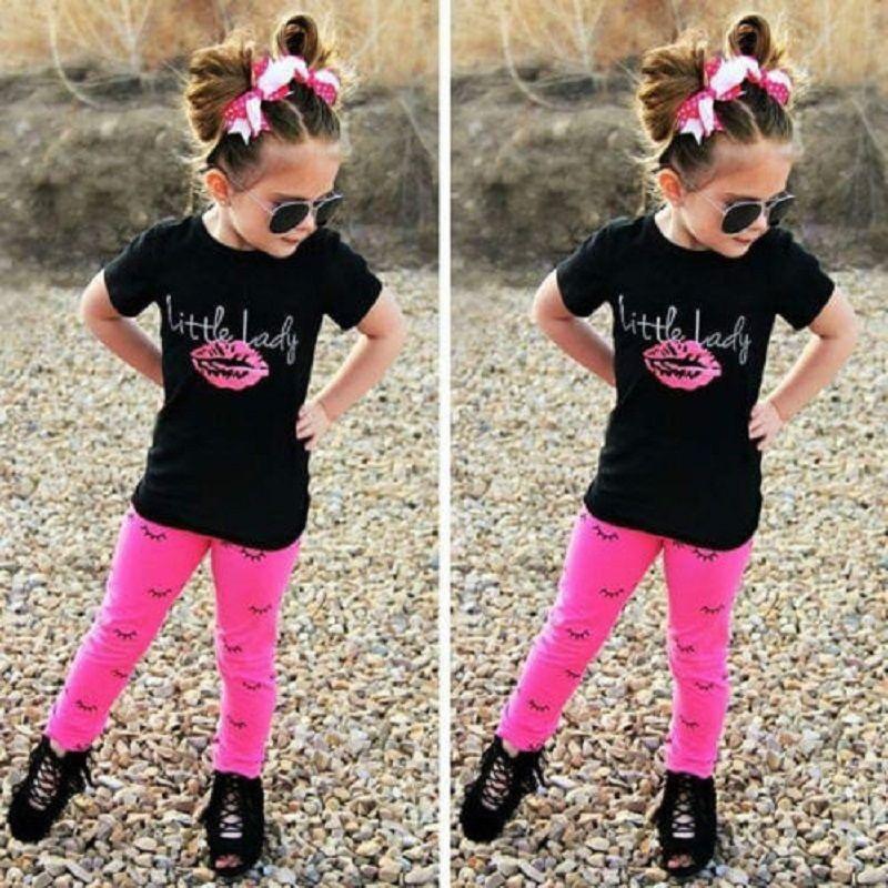 Nouveau-né BÉBÉ Ensemble de vêtements Enfant Petite Adolescente Fille Vêtements De Coton Survêtement À Manches Courtes Chemise Noire Pantalon Tops Legging Pantalon Toddlers Tenue