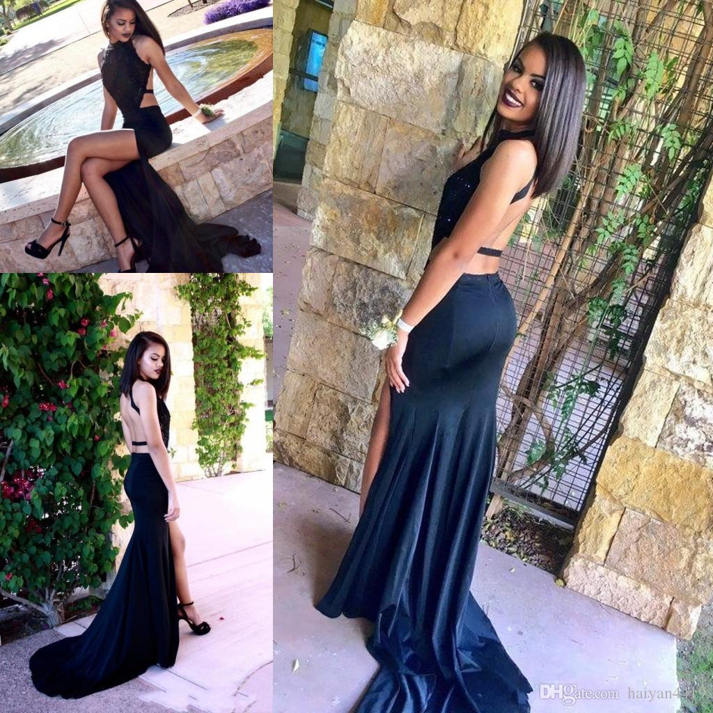 2017 New Mermaid Prom Dresses High Neck Black Lace Appliques Spandex Open Back Court Train Plus Size Side Split Party Dress Evening Gowns