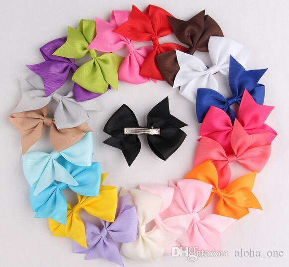 Ribbon Bows mit Clip, einfarbig Bögen Clip, Baby Haarschleife, Boutique Haarschmuck Mädchen Haarspangen