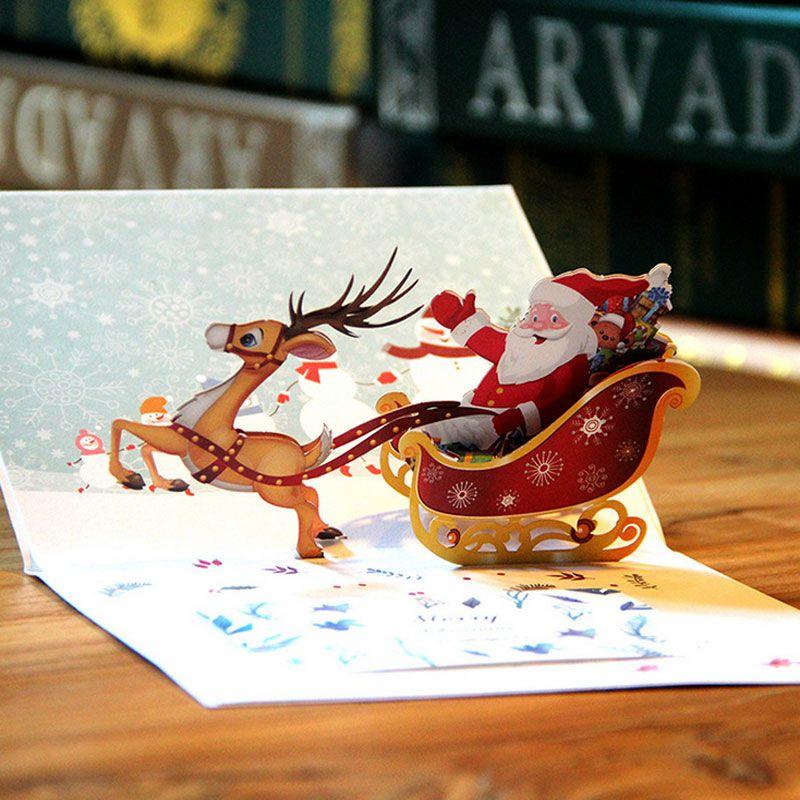 New 3D Handmade Christmas Cards Creative Kirigami & Origami Pop UP Greeting Card with Santa Ride Postcards