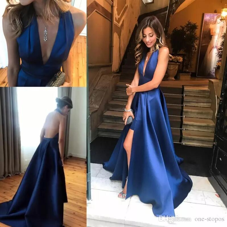 Loyal Vestidos De Festa Lace Blue Backless Deep V Neck Cap Sleeve Long Evening Prom Dresses Red Carpet Gown 2016 Free Shipping Belt Weddings & Events