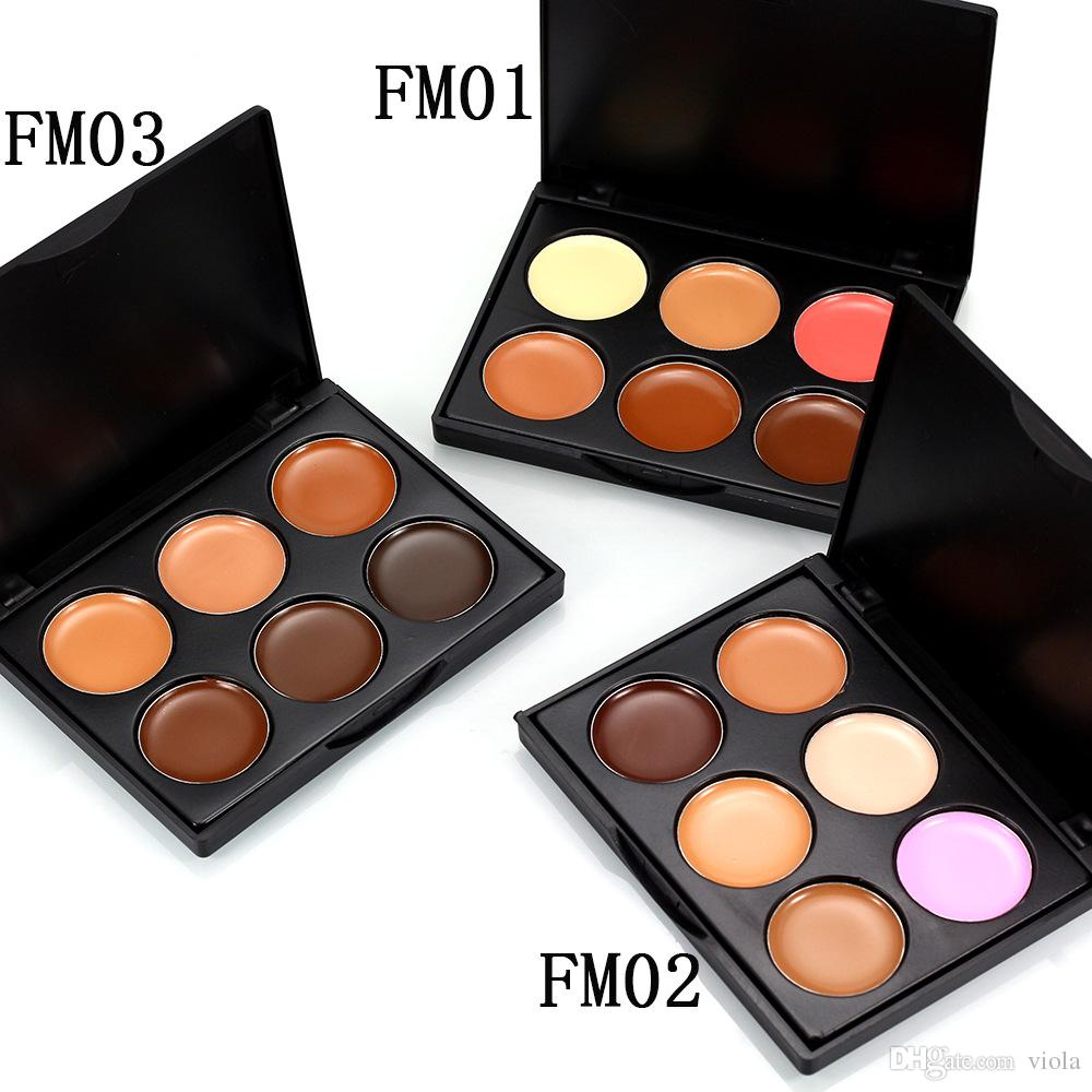 6 Colours Professional Facial Concealer Cream Foundation Makeup Camouflage Concealer Palette with Makeup Brush