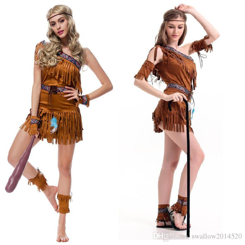 44129f7c8d3 Cosplay International Sexy Costumes For Women Native American Pow Wow Adult  Costume One Shoulder Fringe Dress Outfit Themed Party Costumes Group  Halloween ...