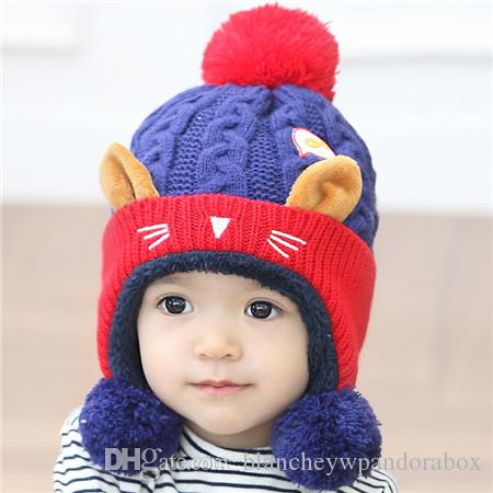 9d3aadad7f5 2019 2017 New Christmas Wind Proof Hat Two Ball Design Kids Fox Ear Winter  Warm Cartoon Cute Cap Baby Hats And Scarf Set For Boys Girls Shapka From ...