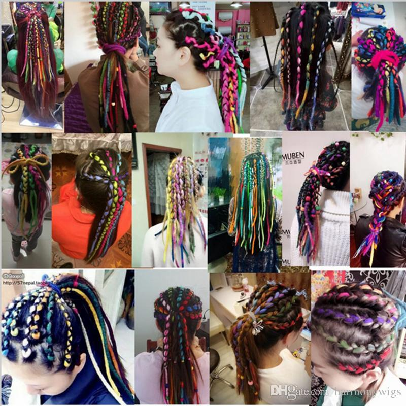 Ganchillo sintético trenzas Twist Hair Head Nepal Field Wool Dreadlocks Synthetic Braiding Hair Extensions 90CM-120cm Popular