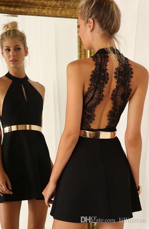 Großhandel Einfaches Kurzes Abschlussball Kleid Halter Ansatz ...