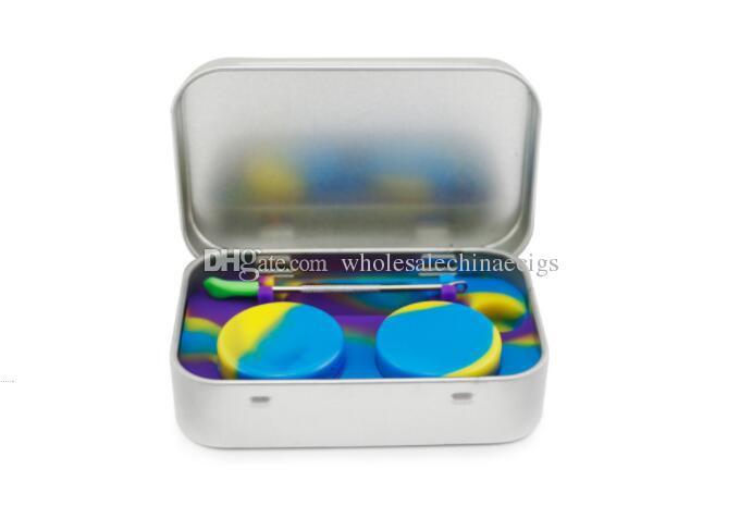 Kit di stoccaggio in silicone 4 in 1 con set 2 pezzi 5ml Contenitore di olio in silicone con contenitore base Dab Dabber Tool Scatola in metallo