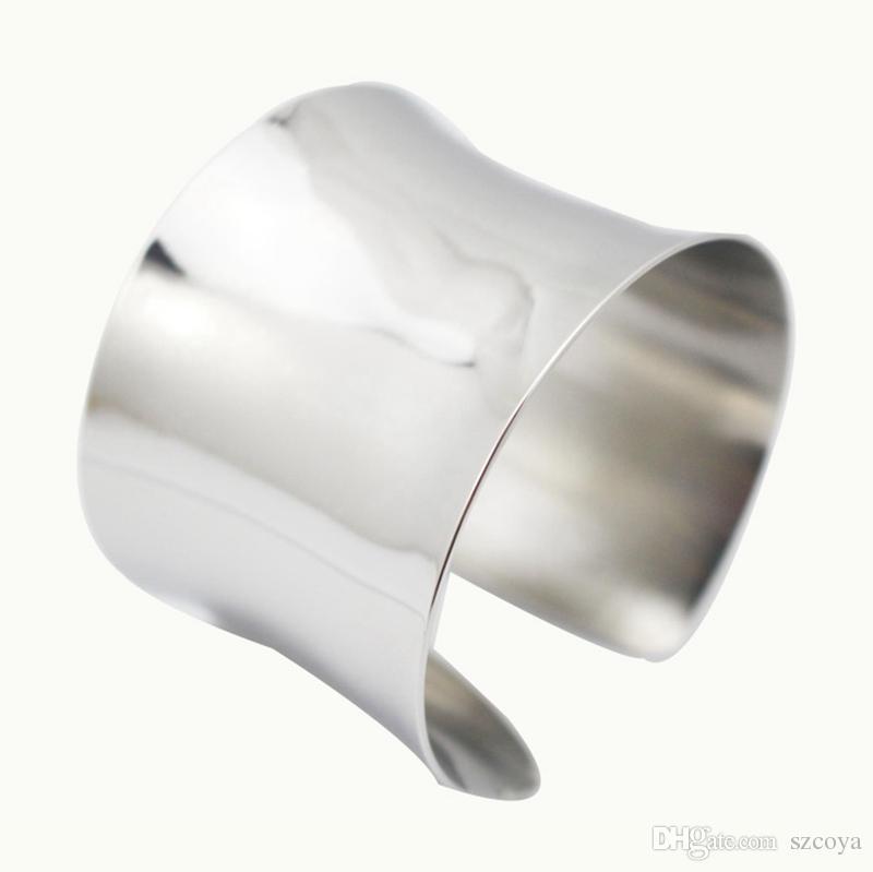 2017 Novos acessórios de moda jóias punk abertura cuff bangle para as mulheres menina de prata Bangles Cuff Pulseiras pulseira braço superior