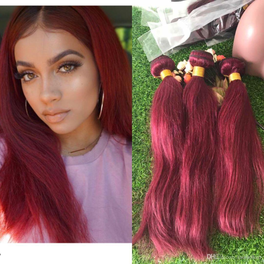 Burgundy Hair Weave 100 Unprocessed Red Wine Burgundy Straight