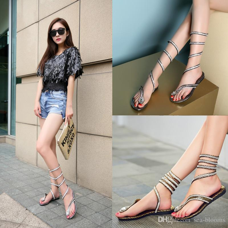 f0a5fad5436 Wrap Around Womens Sandals Lace Up Crystal Rhinestone Thong Casual Roman  Gladiator Women S Knee Surround Sandals C56Q Platform Shoes Prom Shoes From  Sea ...