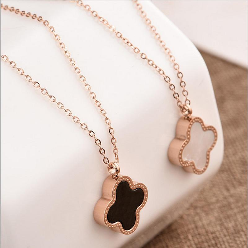 Wholesale double side shell clover necklace rose gold lucky four wholesale double side shell clover necklace rose gold lucky four leaf clover pendant chains fashoin jewelry for women drop shipping gold circle pendant aloadofball Image collections