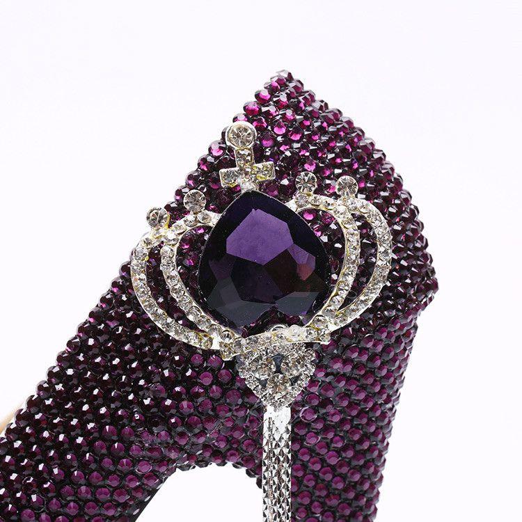 bb893f36b7ec8 Wholesale Silver Plum Ombre Crown Tassel Cinderella Shoes Hand-made Prom  Evening High Heels Rhinestones ...