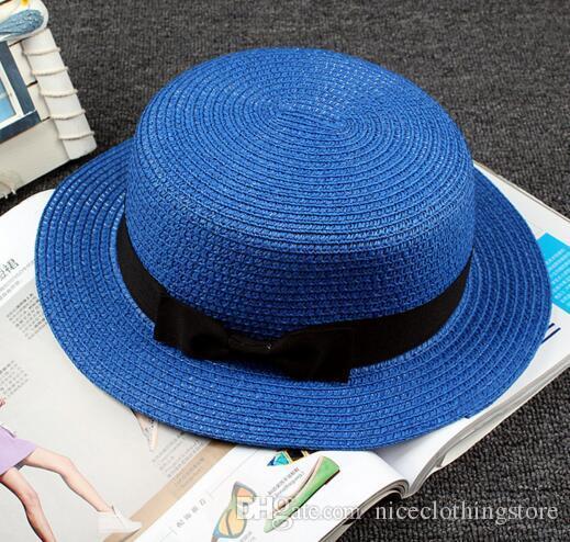Fashion Womens Foldable Bucket Hat Summer Sun Beach Straw Hats with Bowtie Church Hat Korea Accessories Wide Brim Hats