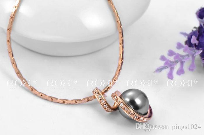 2017 ROXI Fashion Pendant Necklace with black Pearl Rose Gold Plated Hand Made Fashion Jewelry Christmas Gift for Women