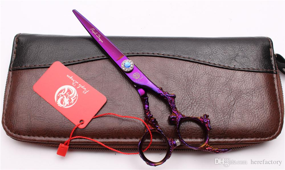 "Z9005 6"" 440C Purple Dragon High Quality Professional Human Hair Scissors Barbers' Hairdressing Scissors Cutting Thinning Shears Style Tools"