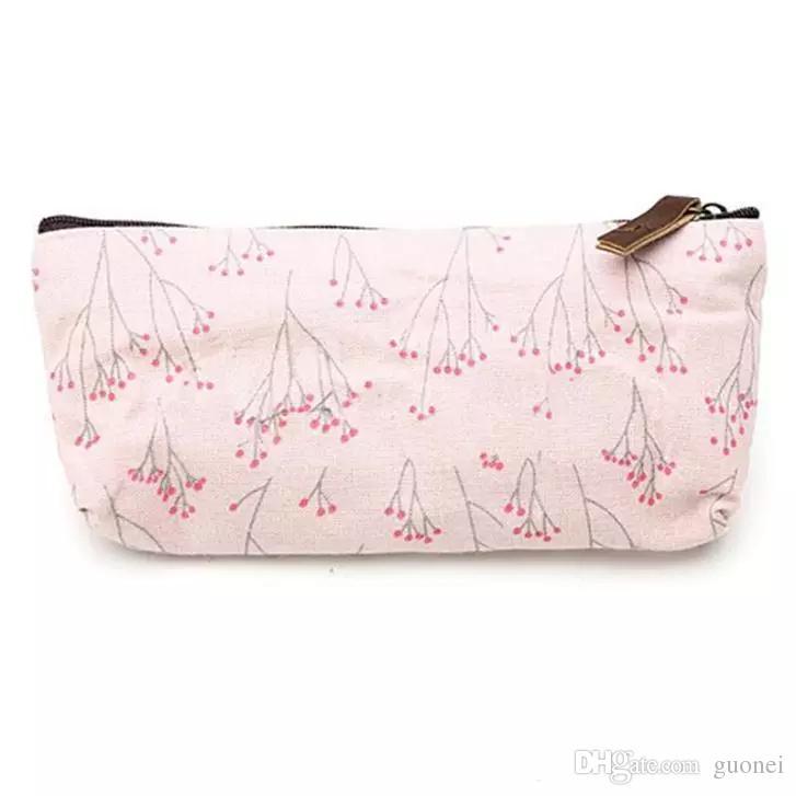 2017 Pen-vendendo Hot Floral Flower lápis lona Caso Cosmetic Maquiagem Ferramenta de saco de armazenamento malote 3 estilos
