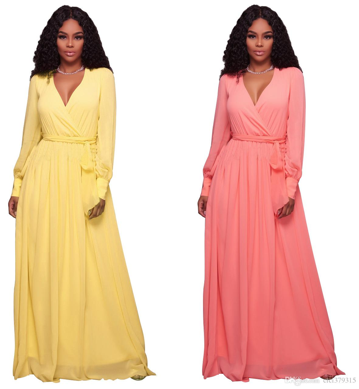 Fashion Long Sleeve Sashes Maxi Long Dresses Women Elegant V Neck ...