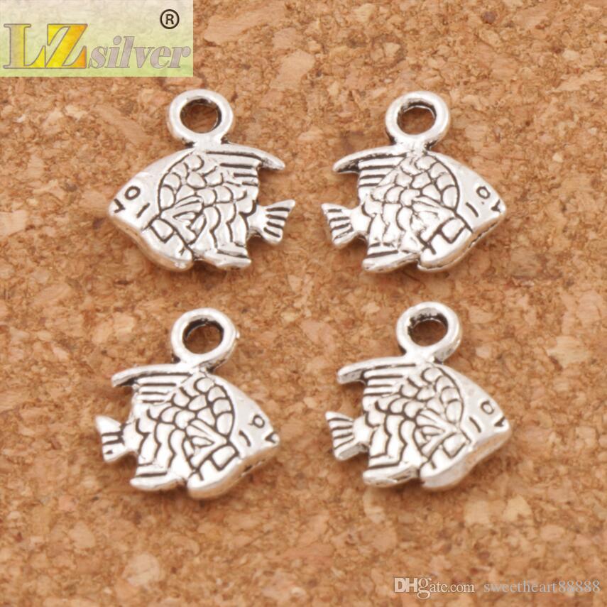 Pequenos peixes charme Beads / lote Hot Antique Antique Pingentes de Prata Jóias DIY L062 10.7x9.5mm