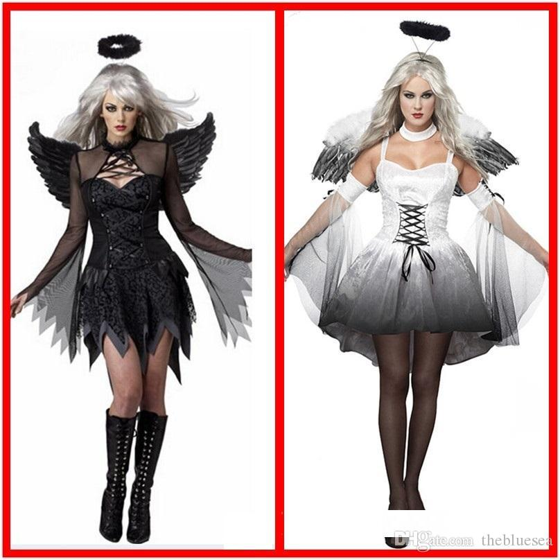 Halloween Black White Angel Vampire Devil Party Cosplay Dress Women Plus Size Masquerade Show Theme Costume Headdress Wing Sets Suits Themes For