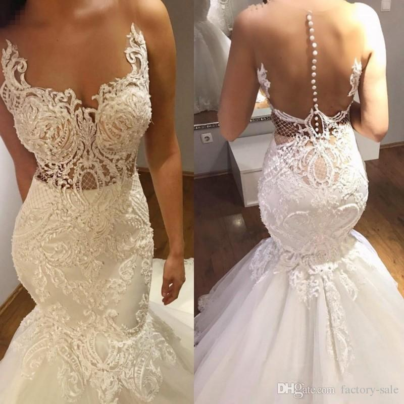 how to choose big clearance sale Official Website Sexy Illusion 2018 Mermaid Wedding Dresses Sheer Neck Lace Appliques Beaded  Wedding Gowns Sweep Train Button Back Bridal Gowns Custom