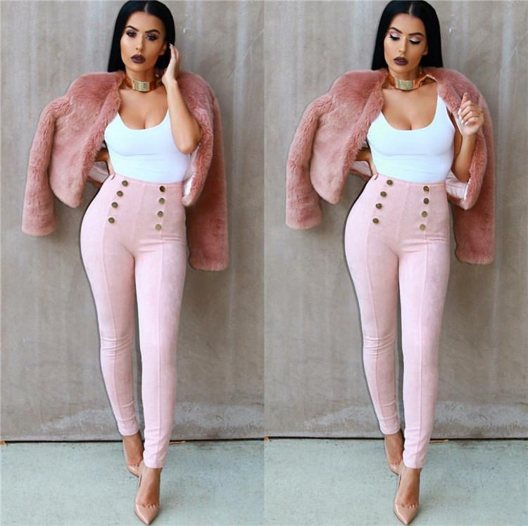 Women Pants Winter Snazzy Design Package Hip Button Decorative Womens Leggings Plus Size Suede Fabric Casual High Waist Pants