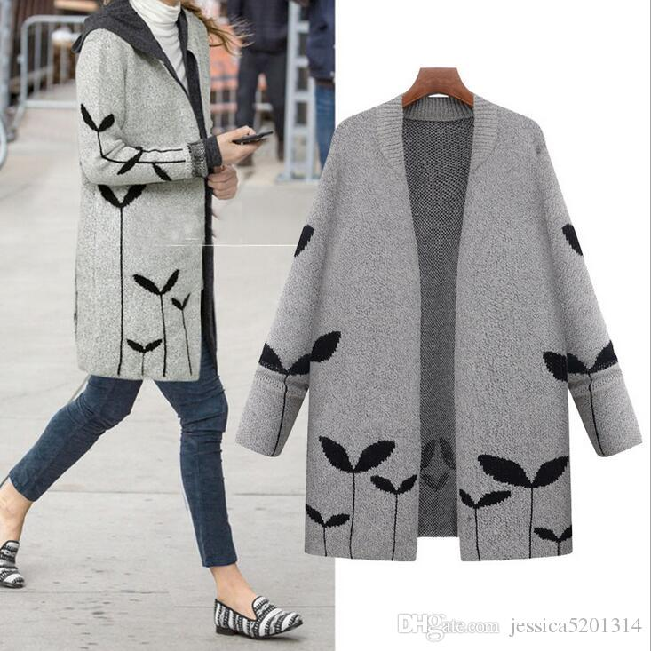 2018 Hot Sale Plus Size Sweater Long Wool Coat Light Grey Women'S ...