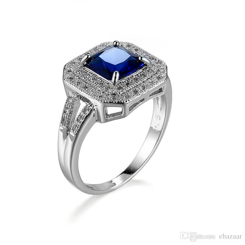New Gift Sapphire Diamonique Cz Gold Plated Wedding Ring Engagement Band Sz6-10
