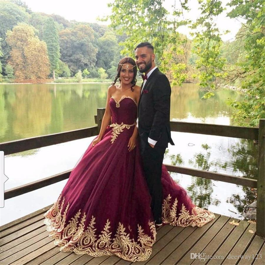 Gold Lace Appliques Quinceanera Dresses Sweetheart Burgundy Tulle ...