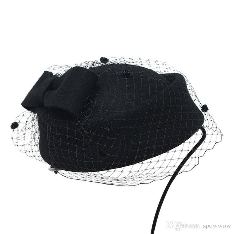 Womens Church Dress Fascinator Airline Stewardess Wool Felt Tilt Pillbox Hat Party Wedding Bowknot Veil Cap A080