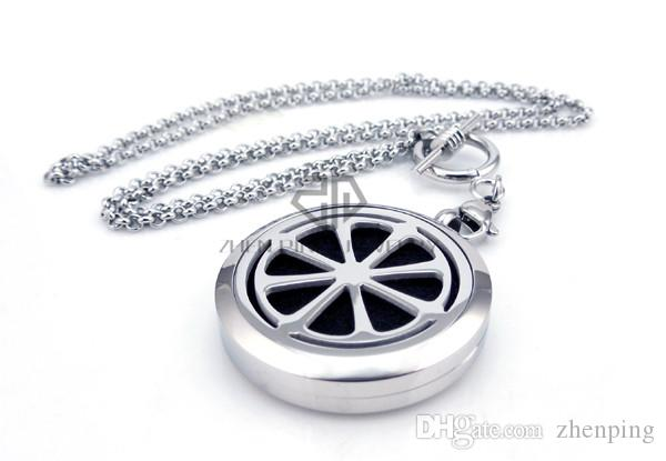 With Chain as gift! Round Silver Citrus 30mm Essential Oils Stainless Steel Pendant Perfume Diffuser Locket Aromatherapy Locket Necklace