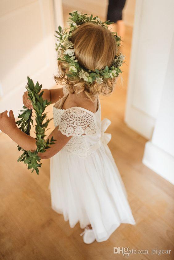 Vestido de niña de flores de estilo vintage con cintura de manga y manga corta de Empire