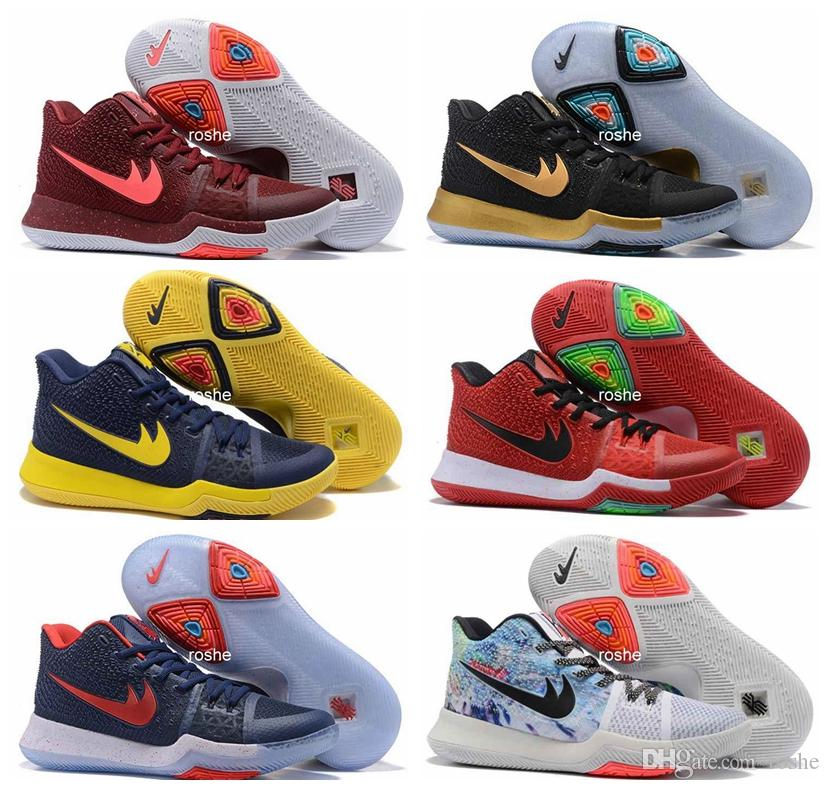 76178d2111e3 2017 New Style Kyrie Irving 3 Hot Punch Team Red Christmas Mens Basketball  Shoes Top Quality Kyrie 3 Air Cushion Sport Sneakers 40-46 Basketball Shoes  Kyrie ...