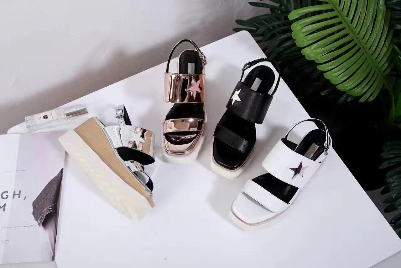 13adcf7e6edc 2017 Hot Sales Stella Mccartney Stars Sandals Women Cut Out Genuine Leather  Buckle Platform Shoes Prom Shoes From Luischen