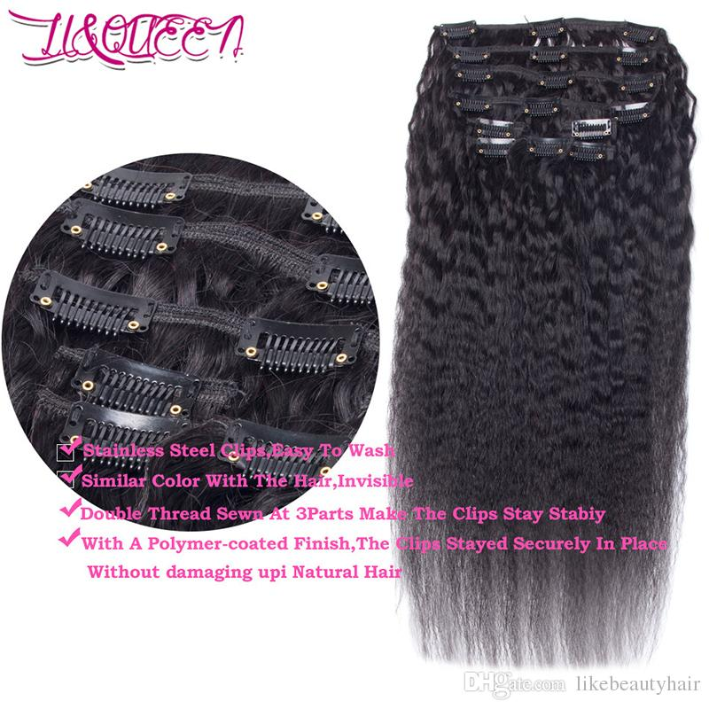 Malaysian Kinky Straight Human Hair Clip In Hair Extensions Natural Black Unprocessed Beauty Weaves 100g