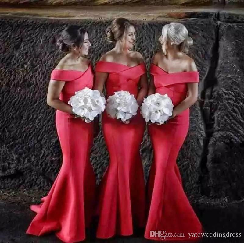 2018 Off Shoulder Mermaid Bridesmaid Dresses Sleeveless Sweep Train Formal Party Gowns Back Zipper Custom Made Vestidos De Noiva