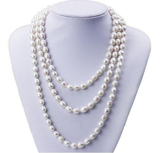 Collana di perle d'acqua dolce naturale bianca a forma di riso a singolo filo 7-8mm donna da 48 pollici