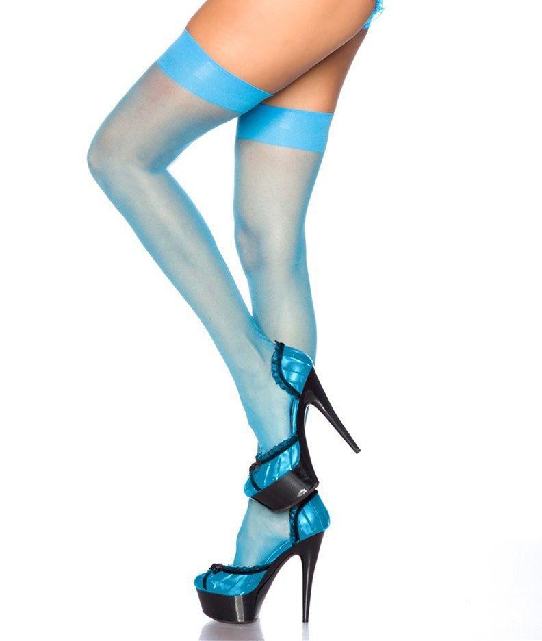 a92145abc Nylon Cheap Thigh High Neon Stockings Women Fashion Summer Sexy See ...
