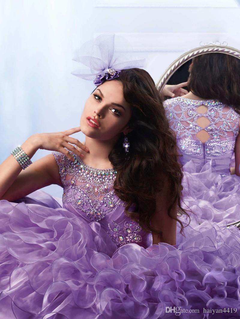 2020 Quinceanera robe de bal Robes Lilas Jewel cou mancherons cristal perles en organza Ruffles doux 16 Plus Size Prom Party Robes de soirée