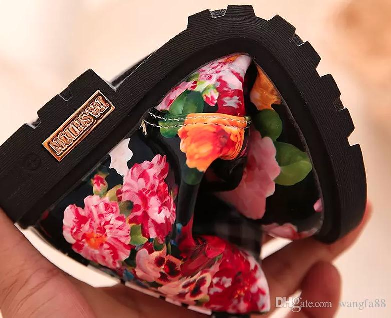 Cute Girls Boots New Fashion High help Elegant Floral Flower Print Kids Shoes Baby Martin Boots Casual Leather Children Boots