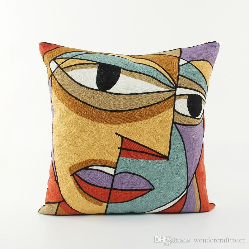 European Vintage Style Embroidery Cushion Cover Pablo Picasso Paintings Face Embroidered Cushion Covers Sofa Throw Decorative Pillow Case