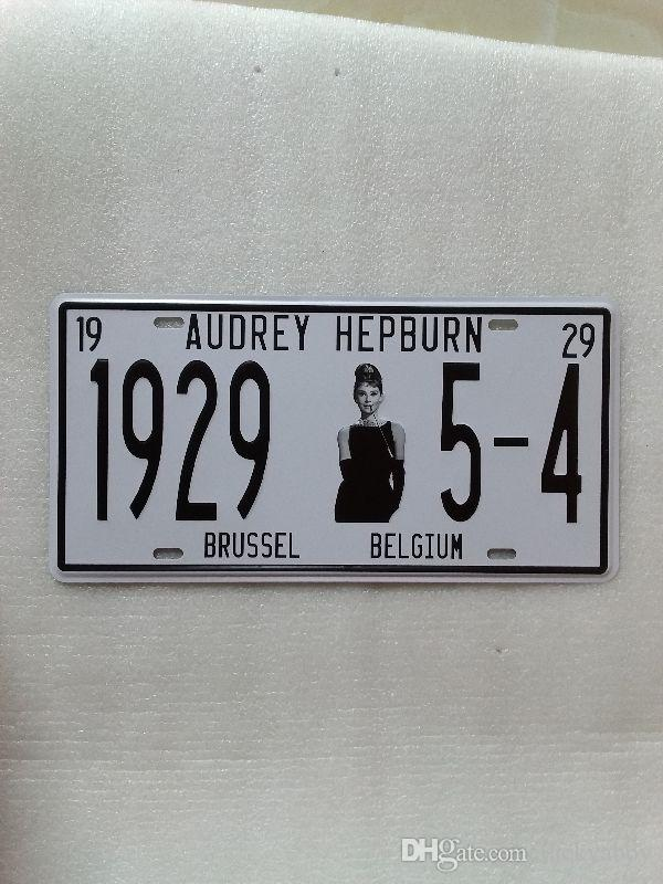 Audrey Hepburn 3D embossed vintage Metal Plaque Car Number Retro Licence Plate Tin Sign Bar Pub Home Cafe Wall Decor Retro Metal Art Poster