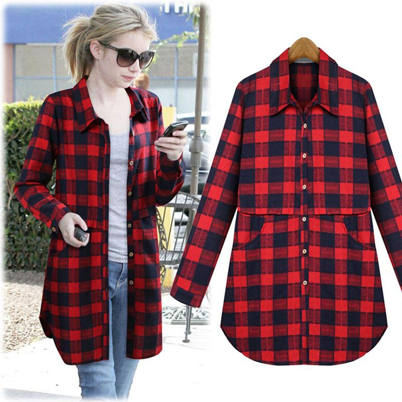 2017 Fashion Ladies Plaid Flannel Shirts Casual Women Blouses Long ...