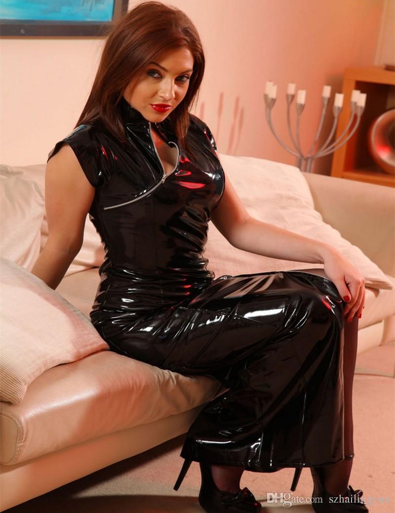 Очаровательная Искусственная Кожа Женщины Черный ПВХ Длинное Платье Экзотическая Молния Cheongsam Sexy Long Макси Блестящий Искушение Косплей Костюм