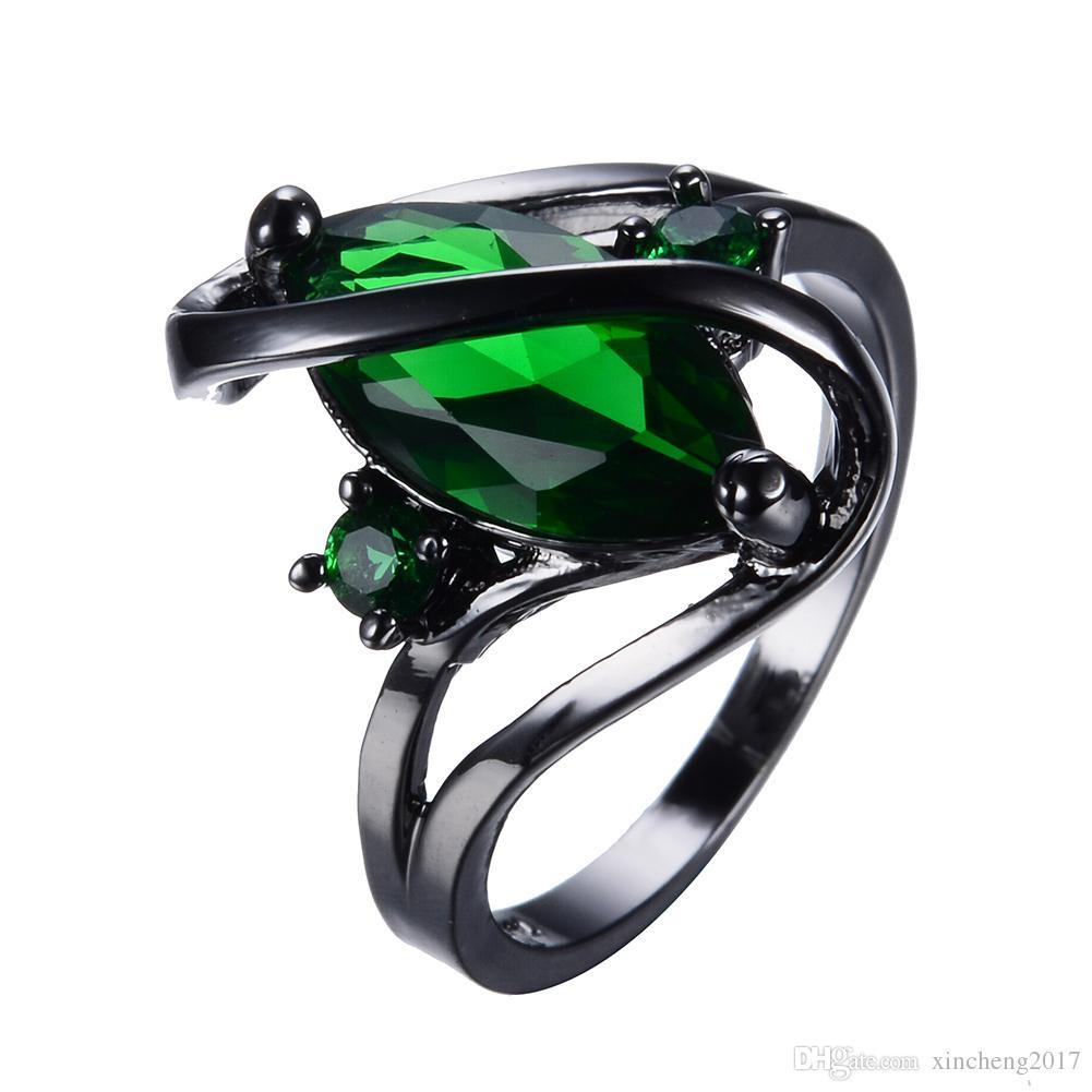 Online Cheap Junxin Elegant Black Gold Filled Green Cz Ring Vintage