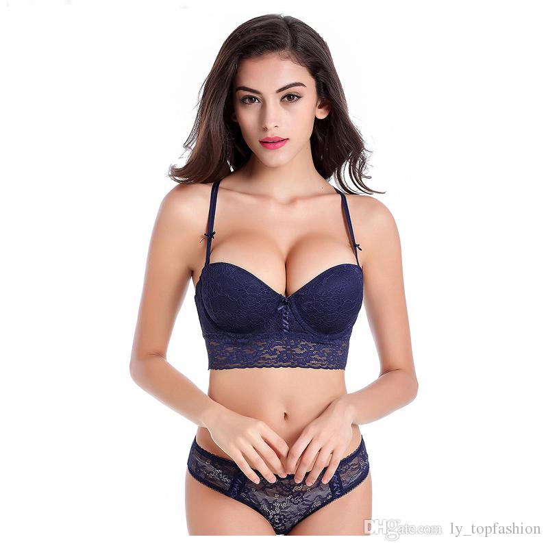 e42277763e49b 2019 Sexy Hot Luxury Lace 1 2 Cup Y Buckle Beauty Back Sexy Women Lingerie Push  Up Bra Set 19860 From Ly topfashion
