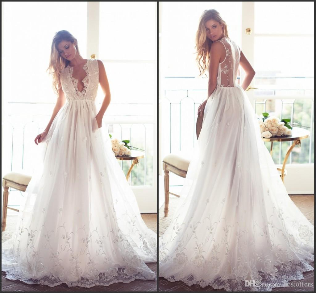Discount romantic summer sexy wedding dresses 2017 plunging v neck discount romantic summer sexy wedding dresses 2017 plunging v neck illusion back with lace appliques a line rustic vestido de novia boho bridal gowns the ombrellifo Image collections
