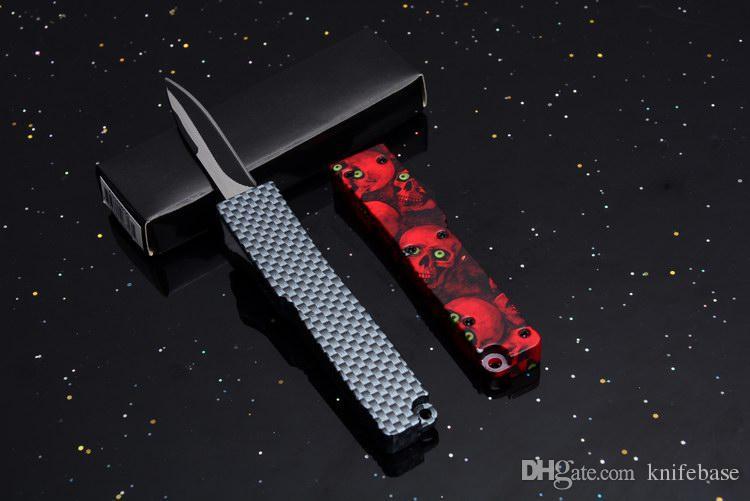 Marca nueva hebilla clave Mini acción punto de caída 440 sola cuchilla mango doble acción Auto EDC acampar al aire libre cuchillo táctico cuchillos