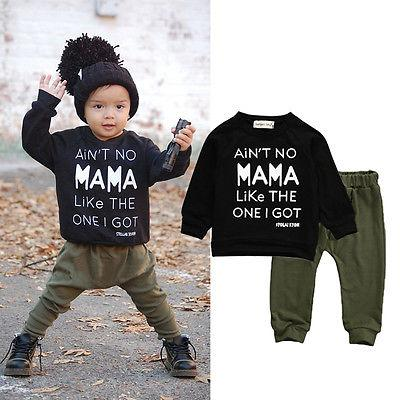 05b122482c73 Newborn Toddler Infant Kid Baby Boy Autumn Winter Clothes Letter ...