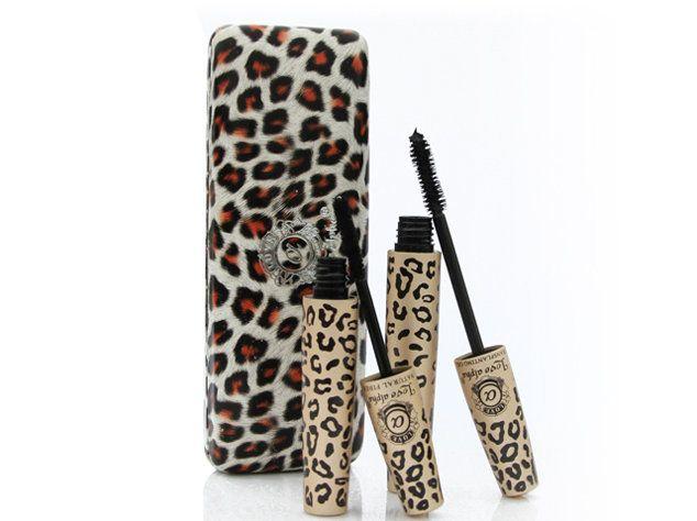 Rímel de maquillaje Estampado de leopardo Love Alpha Black Eye Rimel Pestaña larga Silicona Cepillo rizador de alargamiento curvo Maquillaje impermeable